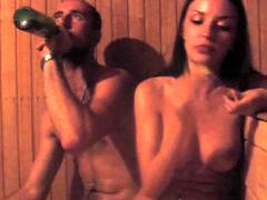 Undressed amateur couple relaxes in the sauna and films it completely all