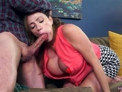 Sizeable boob Mom i`d like to fuck gives blowjob off shady landlord to cover rent