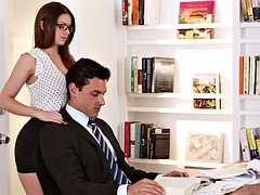 Sweet secretary with glasses asks a big salary