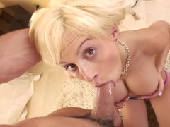 Blonde with long hair & a shaved pussy is getting rammed