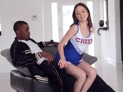 Hot cheerleader sits her petite ass on a black dudes crotch