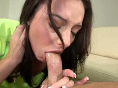 Brunette inexperienced teaches all the ladies how to do a blow job