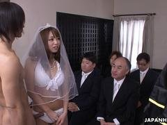 During her wedding she has to give bj on a hard wiener