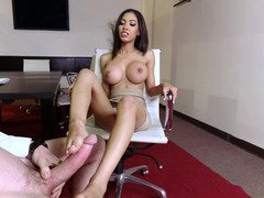 Cutie with gigantic titties gives fuck hole & feet to four-eyed boy