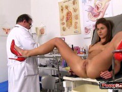 Brunette doctor gaping and furthermore cum blast