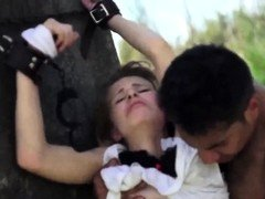 Tamed 18-19 year-old chicks rough number one time Helpless teenager Lily Dixon is
