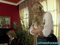 Glam clothed lesbo toying