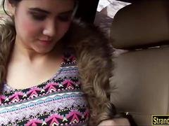 Pretty teenie Woman D gives a blowjob and railed in the car