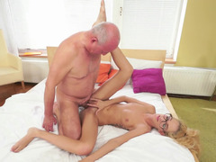 Charming blonde darling with glasses gets rammed by an mature fart