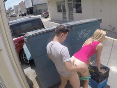 Fucking behind a dumpster with a smoking hot blonde girl