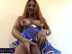 Big purple rod transexual Jasmine taking on one more huge flag pole