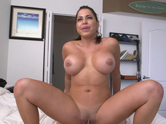 Slightly fat Latina darling with a big tooshie rides a huge dick in POV