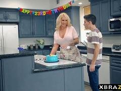 Mom team-fucked & Double ripping fucked at this birthday party
