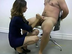 Policewoman tortures a nude offender