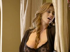 A milf Latina with large bra buddies is fucked in her tight petite slit