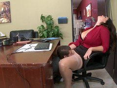 A busty thing that has a large ass is getting fucked in the office