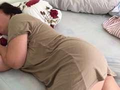 Fatma in sofa snores and  plumper mummy mature round