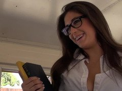 Lascivious whore is ready to get fucked right in the moving bus