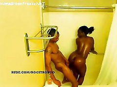 Ebony babe with hooters and tush getting fucked in shower - spy clip