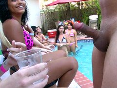 Pool party gals suck stranger love pole as it comes around to them.
