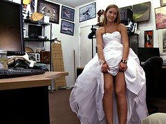 Slut pawns her wedding dress and screwed at the pawnshop