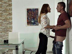 Brunette lady friend gets drilled by her excited boyfriend