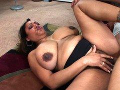 Slightly fat mom Kira opens her hirsute bush to a big love pole