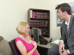 Short haired office kitten gets nailed by an Euro porn stud
