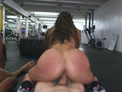 Fat ass girls riding hard dick in the gym after closing