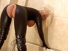 Large boobs blonde bimbo leather catsuite