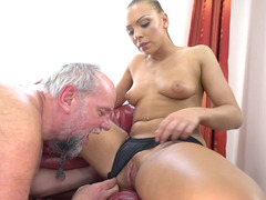 Very old man fills mouth of little cutie with his thick cum