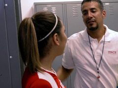 Football coach and moreover tricky player have good sex in the locker-room