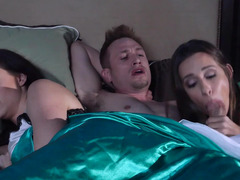 A wife and plus a homeless girl are having an intercourse a lad in a three-way