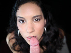 Terrific POV blowjob from long haired porn star beauty Tia Cyrus