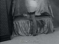 Sexy Mature Lady in Stockings Takes Off getting off(1950s Vintage)