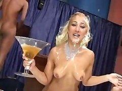 Brazilian blondie gets an unbelievable messy bukkake treatment