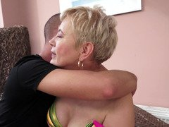 A weighty granny is getting fucked in this nasty scene with a young and fresh man