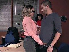 Giving head off Her Boyfriend in Office
