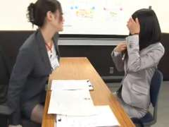 Office girl seduced by sapphic during interview