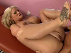 A blonde receives tons of cum in her mouth and she swallows