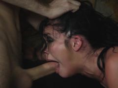 One raven-haired drunker satisfies a duo men in the bar