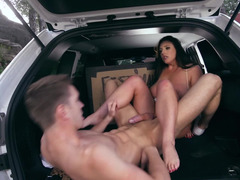Anal sex in the car has his big cock stretching her ass