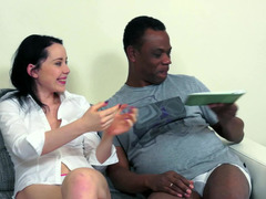 Well endowed grown-up African dude gets down and dirty a sweet dark haired model