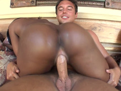 Black girls pussy gets opened up by a white throbbing erection