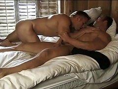 Furious encounter with bulky muscle hunks boners