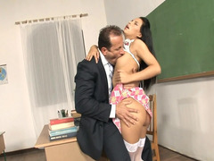 Hot completely all natural Latina loses her clothes in the classroom