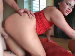 Explicit Latina bitch in red top and moreover skirt