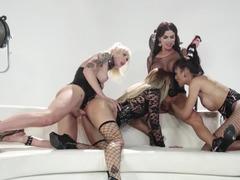 Jessica Drake gangbanged by three gorgeous shemales