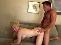 A blonde granny gets naked and fucked as well here