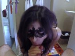 A kinky kitten wearing a mask gets to gobble a huge ramrod of her step father in point of view